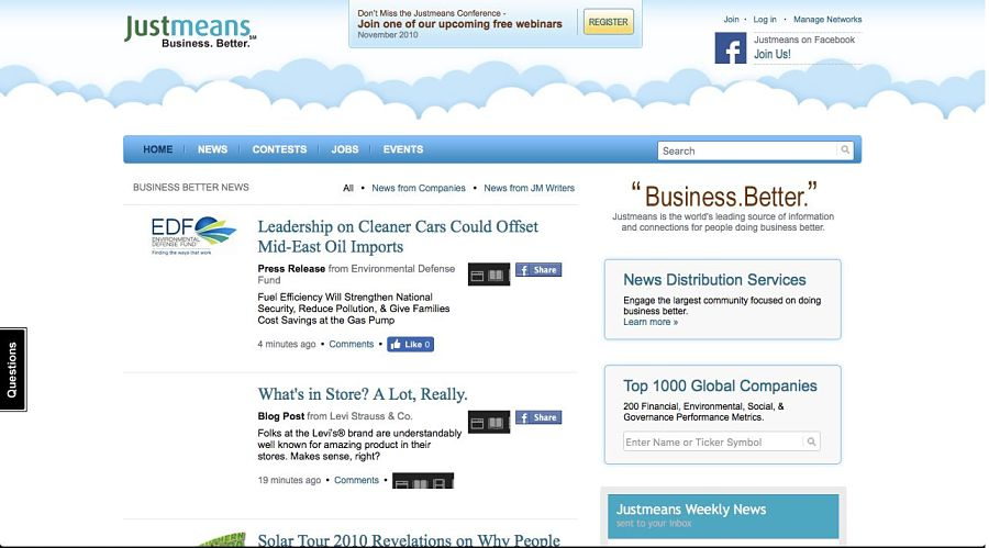 2011 Justmeans front page.