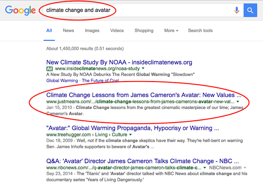 "If you went to the google search bar and typed in ""Climate change and avatar"" you would see the first search result was the one I wrote for SEO optimization."